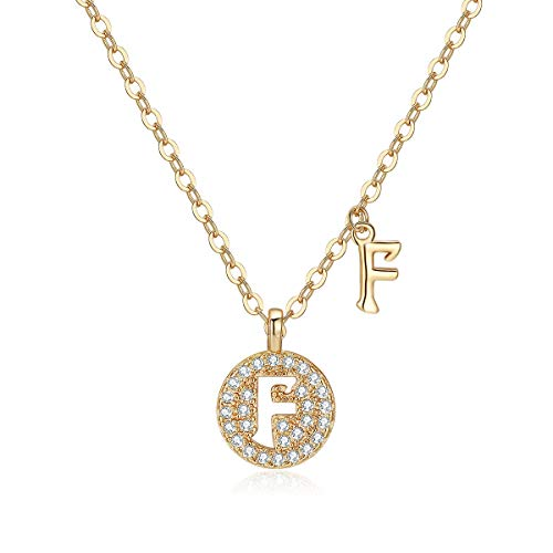 SAKUNALA Initial Necklace for Girls Womens, Dainty Rose Gold Plated Personalized Name Letter F Choker Necklace Round Disc with Cubic Zirconia Alphabet Pendant Chain