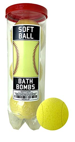 Softball Bath Bombs - 3 Pack - Softball Gifts - Luxury Scented Bath Bomb Fizzies - Great Gift for Softball Players, Teammates, Team Gifts, Opponents, Male or Female Coaches, Softball Clubs and