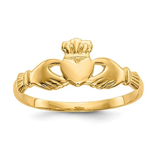 Solid 14k Yellow Gold Irish Claddagh Celtic Ring Band Size 9