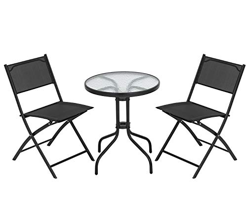 FDW Bistro Table Set 3 Piece Patio Set Small Patio Set Balcony Chairs Set of 2 Tempered Glass Tabletop with 2 Folding Chairs Conversation Set (Black)