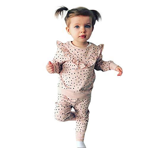 Kobay Babykleidung Mädchen Winter Kleinkind Kinder Baby Mädchen Polka Dot Rüschen T-Shirt Tops Hosen Kleidung Outfits Set(12-18M,Rosa)