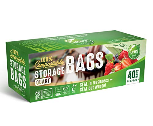 UNNI 100% Compostable Storage Bags, Quart, Resealable Compostable Food Storage Bags, 40 Count, 7 x 7.4 inches, Earth Friendly Highest ASTM D6400, US BPI and Europe OK Compost Certified, San Francisco