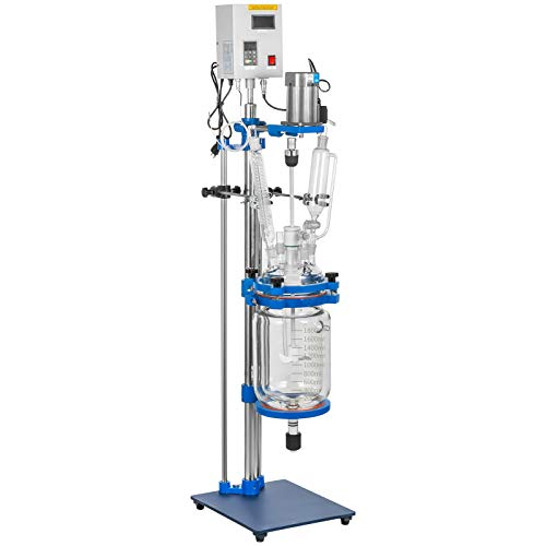 VEVOR Jacketed Reactor 2L Laboratory Glass Reactor, Jacketed Glass Reactor, Chemical Reaction Vessel, Lab Jacketed Reactor, Reaction Vessel Chemistry, with Digital Display, for Reaction Distillation
