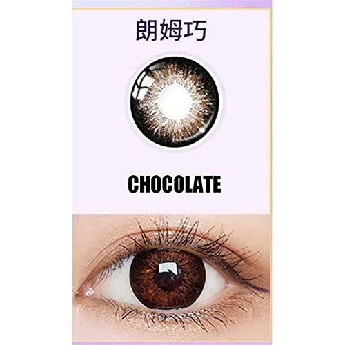 SSB-YXYJ, 1pair Gris Lentes de Chocolate Negro de Kawaii de los Ojos Contactos Lentes for los Ojos, Anual de Casos de Uso con, 0,00 dioptrías (Color : Chocolate)