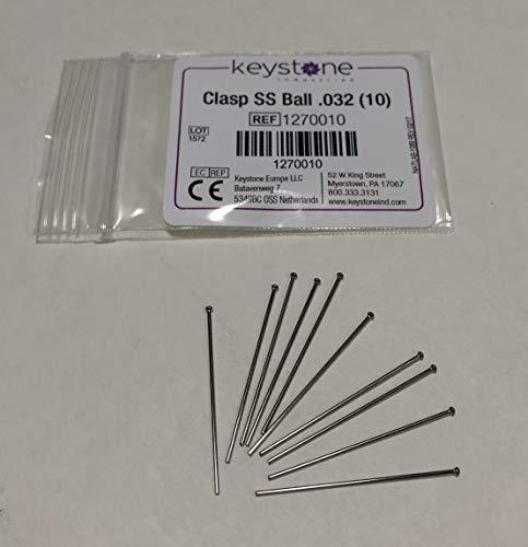 Keystone SS Ball Clasps.032 Dia Large, 10/pkg