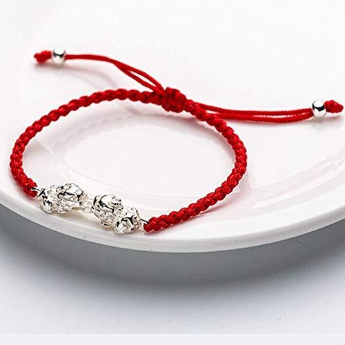 Feng shui riqueza pulsera esterlina plata pixiu pi yao pulsera moneda pulsera roja cuerda mano tejida pulsera para las mujeres cuentas de plata pulsera amuleto alivia fuera de los espíritus malignos F