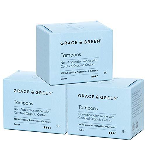 Grace & Green, Premium-Bio-Tampons ohne Applikator, hergestellt aus 100% zertifizierter Bio-Baumwolle (Super - 3 Pack)