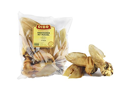 DIBO Rinderohren mit Muschel, 5er-Beutel, der kleine Naturkau-Snack oder Leckerli für Zwischendurch, Hundefutter, Qualitätskauartikel ohne Chemie von DIBO