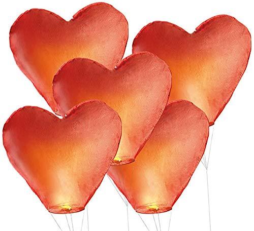 5 farolillos volantes de la suerte, diseño en forma de corazón