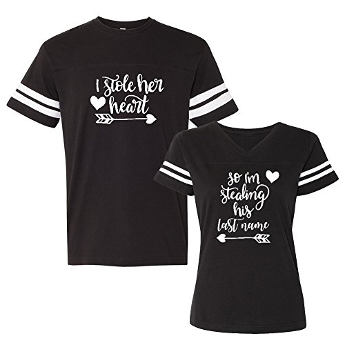 We Match! - Couple Shirts - I Stole Her Heart & So I'm Stealing His Last Name - Matching Couples Football T-Shirt Set (Ladies Medium, Mens 3XL, Black, White Print)