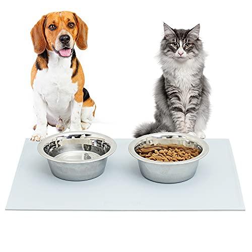 PetTec Futtermatte mit erhöhtem Rand/Futternapf Unterlage/Napfunterlage aus Silikon wasserabweisend & rutschfest, Silikonmatte Futternapf/Hundenapf, Antirutschmatte Napf, Platzdeckchen Katze