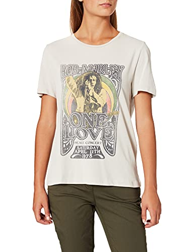 Only ONLBOB Marley SS DNM tee Camiseta, Pumice Stone/Print:One Love, S para Mujer