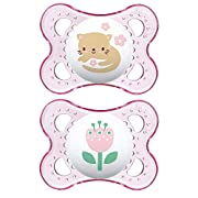 MAM Crystal Pacifier (2 pack, 1 Sterilizing Pacifier Case), Pacifiers 6 Plus Months, Best Pacifiers for Breastfed Babies, Baby Boy, Baby Pacifiers, Designs May Vary