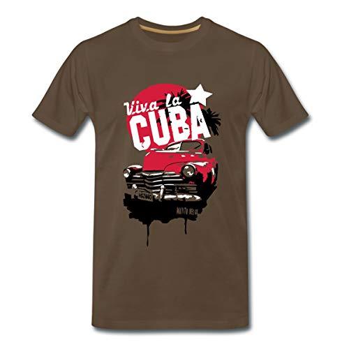 Viva la Cuba Havana Kuba Oldtimer Palmen Urlaub Männer Premium T-Shirt, L, Edelbraun