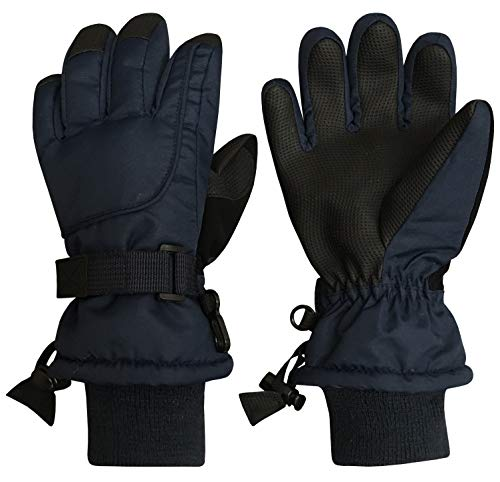 N'Ice Caps Kids Extreme Cold Weather 80 Gram Thinsulate Waterproof Ski Gloves (Navy 1, 5-6 Years)