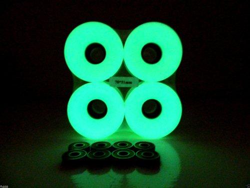 70mm Longboard Skateboard Wheels + ABEC 7 Bearings Spacers (Glow In Dark)