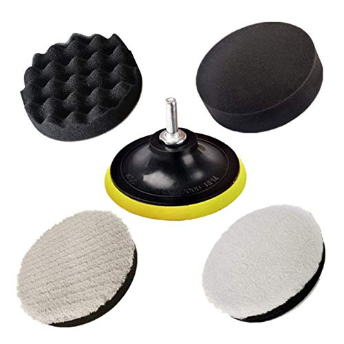 JIGUOOR Polishing Pads, Polishing Sponge Pad Car Polishers Wool Buffers Polishing Pads for Drill Wax Paint Clean Polish,Professional Car Polishers Set Kit with M14 Drill Adapter-125mm 5inch