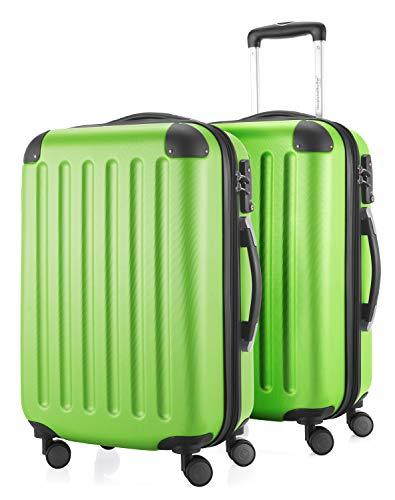 HAUPTSTADTKOFFER - Spree - 2er Koffer-Set Handgepäck Hartschale, TSA, 55 cm mit Volumenerweiterung, Apfelgrün