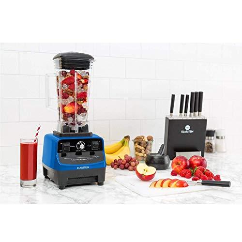Klarstein Herakles 3G - Batidora de vaso, Batidora americana, Licuadora Smoothie Maker, 1500 W, Libre de BPA, 40.000 Revoluciones por minuto, 2 Litros de capacidad, Función Pulso, Azul