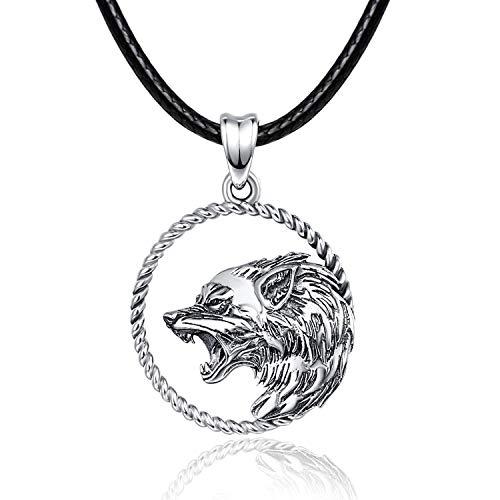 Wolf Halskette/Kette 925 Sterling Silber Wolf Anhänger Wikinger Schmuck Geschenke Wolf Geschenke für Männer Frauen Jungen …