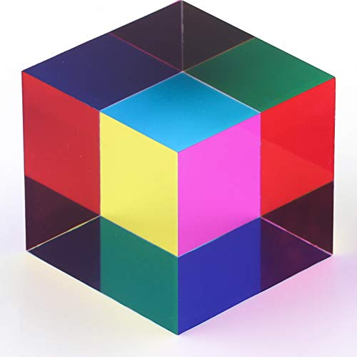 ZhuoChiMall CMY Mixing Color Cube, 40mm (1.57 inch) Acrylic Cube Prism, CMYcube for Home or Office décor, STEM/STEAM Toys, Science Learning Cube for Kids