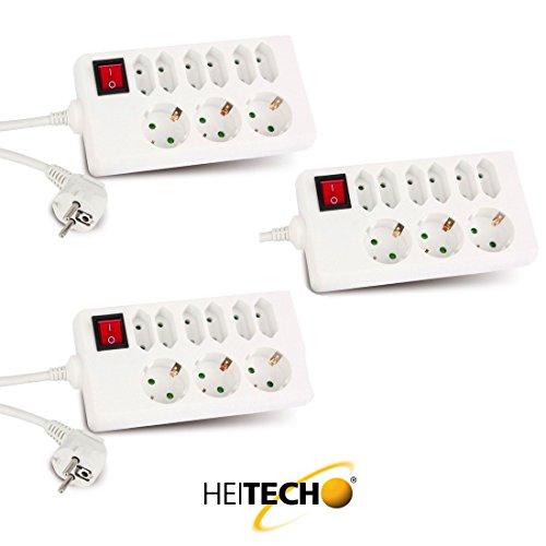 Heitech 3X 9-Fach Steckdosenleiste in Weiss mit Schalter und Intertek/GS-Zeichen