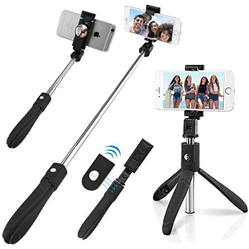 QUMOX Bluetooth Selfie Stick Mirror Remote Monopod Stand Holder para iPhone Android
