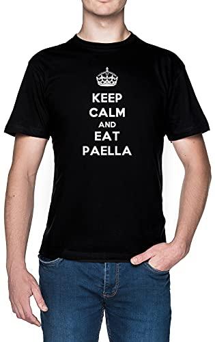Keep Calm and Eat Paella Negro Hombre Camiseta Tamaño XL Black Men