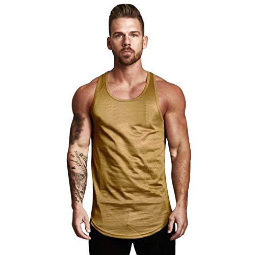 HULKY Herren Gym Muscle Weste Trägershirt Bodybuilding-Sport-Eignungs T-Shirt für Sport Fitness Normallack-Muskel-ärmelloses Unterhemd-Tank Top Oberseite (Braun 2,M)