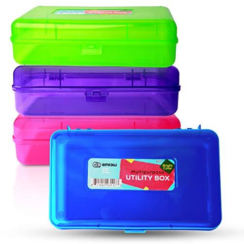 Emraw Utility Storage Box - Bright Color Multi Purpose Pencil Box for School Supplies Durable...
