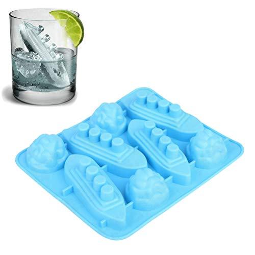 Stampo per cubetti di ghiaccio in silicone, vassoi per cubetti di ghiaccio, vassoio per cubetti di ghiaccio senza BPA, vassoio per cubetti di ghiaccio Stampo per ghiaccio a 8 vassoi Titanic