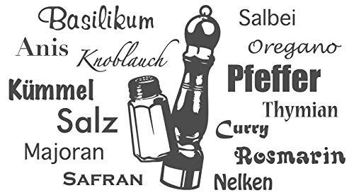dekodino® Wandtattoo Spruch Küche Gewürze mit Pfeffermühle Wanddeko