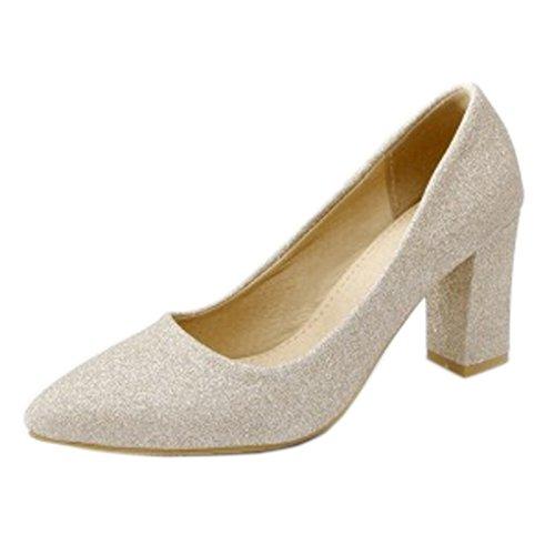 Onewus Zapatos de tacón para mujer con tacón de bloque para boda...