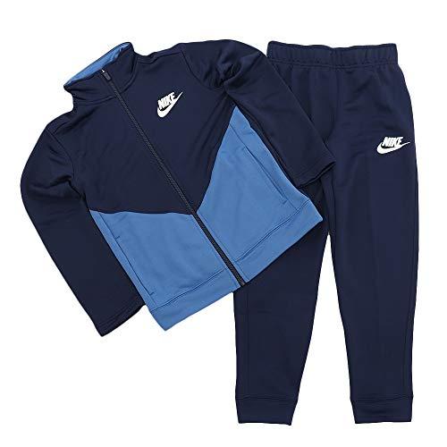 Nike B NSW Core TRK Ste Ply Futura Long Sleeve Top, Kinder, Midnight Navy/Mountain Blue/White, XL