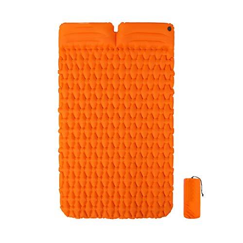 PRIDE S Camping aufblasbare Kissen im Freien automatische aufblasbare Kissen Einzelmatte Matte dicken Camping kann Doppel-Schlafmatte Zelt Luftkissen genäht Werden (Color : Orange)