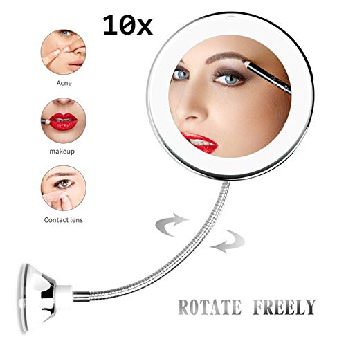 wuxu713 Maquillage Vanity Mirror with Lights LED Lighted Portable Hand Cosmetic Magnification Light Up 10x 10x