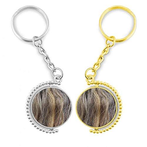 DIYthinker Haarfarbe, lang, goldfarbenes Metall, Schlüsselanhänger, Braun