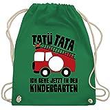 Shirtracer Kindergarten - Feuerwehrauto rund - Tatü Tata Ich gehe jetzt in den Kindergarten - Unisize - Grün - Kindergarten - WM110 - Turnbeutel und Stoffbeutel aus Baumwolle