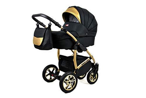 Kinderwagen 3in1 Set Isofix Buggy Babywanne Autositz Gold-Deluxe by SaintBaby Onyx 3in1 mit Babyschale