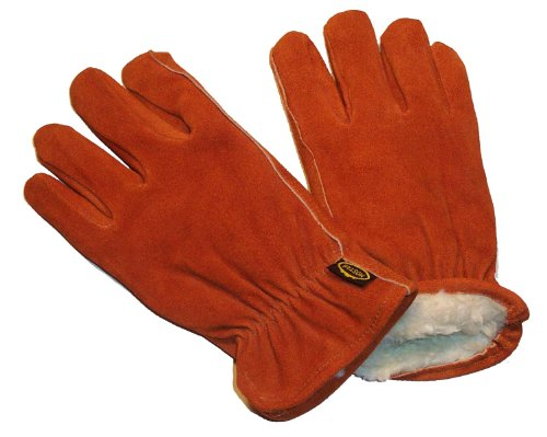 G & F 6454L-3 Suede Cowhide Leather Winter Work Gloves, Drivers Gloves with Pile Lining, insulated, 3-Pair, Large