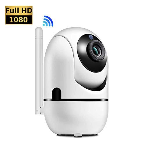 HALUM Cámara IP WiFi, 1080P Home Security Vigilancia, cámara inalámbrica para Interiores con visión Nocturna HD, Audio de Dos vías, detección de Movimiento Pan/Tilt, para bebés, Padres y Mascotas