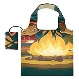 Bolsa de viaje para compras Bonfire con malvavisco Bolsa de lona personalizada Bolsas de compras Bolsas de poliéster reutilizables, lavables, duraderas y ligeras
