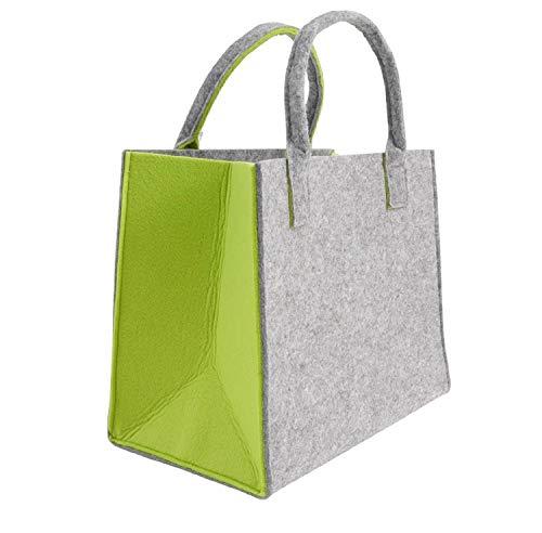 CB Home & Style Filztasche Einkaufstasche Tasche Shopper ca. 35 x 20 x 28 cm (Hellgrau-Grün)