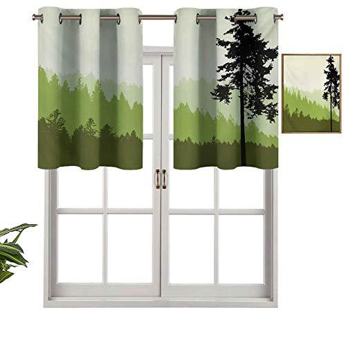 Hiiiman Cenefa de cortina con ojales de alta calidad, diseño de árbol de pino sobre un fondo de estilo abstracto, juego de 1, 127 x 45 cm para decoración de interiores
