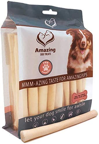 AMAZING DOG TREATS Cow Tail Dog Chew- Premium Quality - Thin - Sourced from Grass Fed Cattle - Long Lasting Dog Chew- Rawhide Alternative (5-6 Inch - 15 Pcs/Pack)