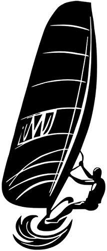 Pegatinas de vinilo para pared decoración de pared pegatinas de bricolaje deportes acuáticos jugadores de windsurf impermeable cabecera de la habitación de los niños 25x59 cm