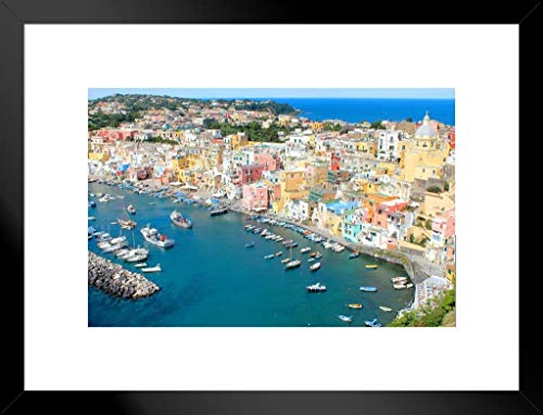 Procida Cinque Terre Italy Amalfi Coast Positano Mediterranean Sea Beautiful View European Landscape Photo Photograph Matted Framed Wall Decor Art Print 26x20