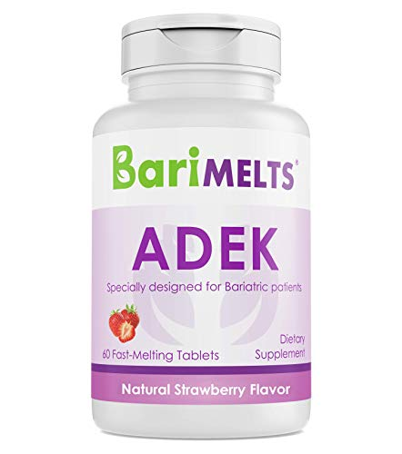 BariMelts ADEK, Dissolvable Bariatric Vitamins, Natural Strawberry Flavor, 60 Fast Melting Tablets