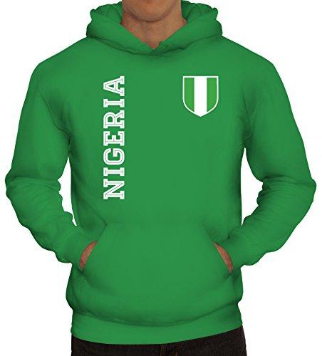 Nigerien Fußball WM Fanshirt Gruppen Herren Hoodie Männer Kapuzenpullover Fan Trikot Nigeria, Größe: XL,Kelly Green