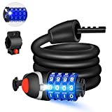 <span class='highlight'><span class='highlight'>Winzwon</span></span> Bike Lock with LED Night Light 4-Digit Resettable Number Combination Cable Lock High Security Chain Lock for Bicycle Outdoors and Other Items That Need to Be Secured, 120cm/12mm